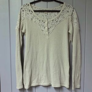 Hollister Lace and waffle knit tee